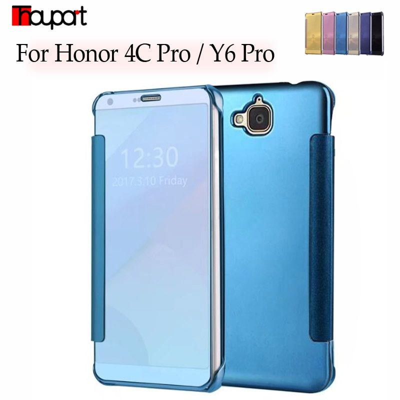 Thouport Case For Huawei Y6 Pro / Hauwei Honor 4C Pro Case Flip Cover Mirror Clear Plastic Leather Cases Honor 4C Pro TIT-L01