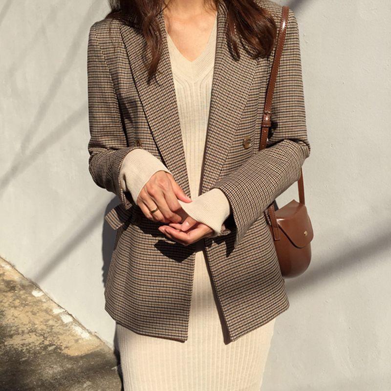 Vintage Double boutonnage bureau dames Plaid Blazer à manches longues lâche pied-de-poule costume manteau veste femmes blazers femme 2019