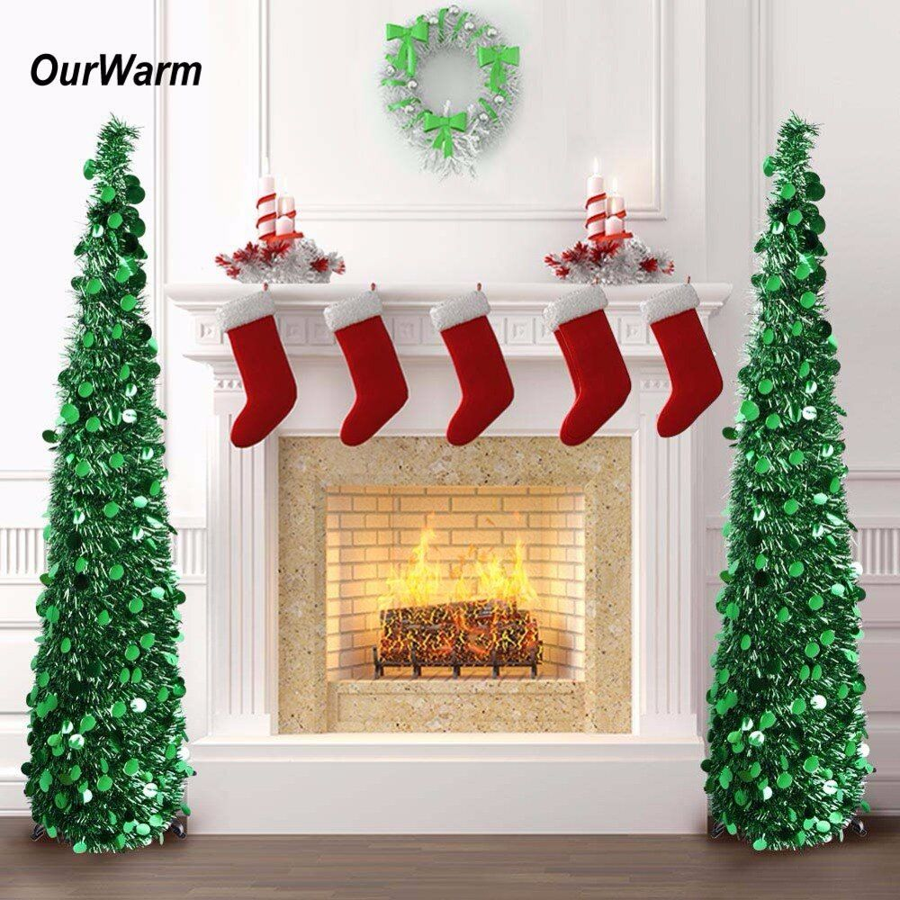 OurWarm 5ft Pop Up Artificial Christmas Tree Decorations Tinsel Collapsible Fake New Year's Tree Easy to Put Up and Store