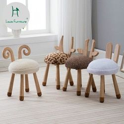 Louis Fashion Children's Stools Modern Nordic Solid Wood Creative Furniture Baby Chair Washable Cute Cute Dwarf Animals
