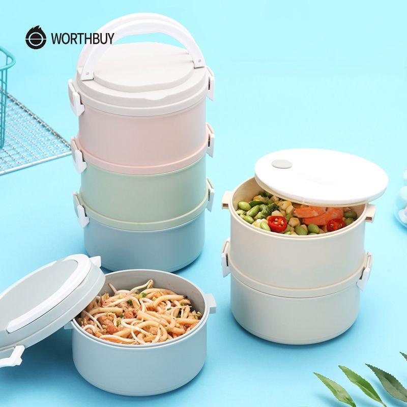 WORTHBUY Nouveau Micro-ondes Boîte À Lunch Pour Les Enfants Japonais En Plastique Enfants Bento Boîte Portable Fuite-Preuve Bento Boîte À Lunch Alimentaire conteneur