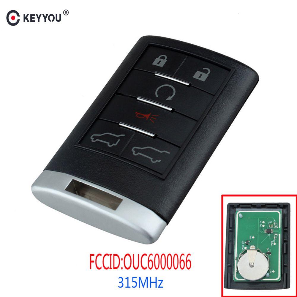 KEYYOU 6 Buttons Remote Key Keyless Entry Car Key Fob For Cadillac Escalade ESV EXT OUC6000066 315MHz 2007 2008 2009 2010 2011