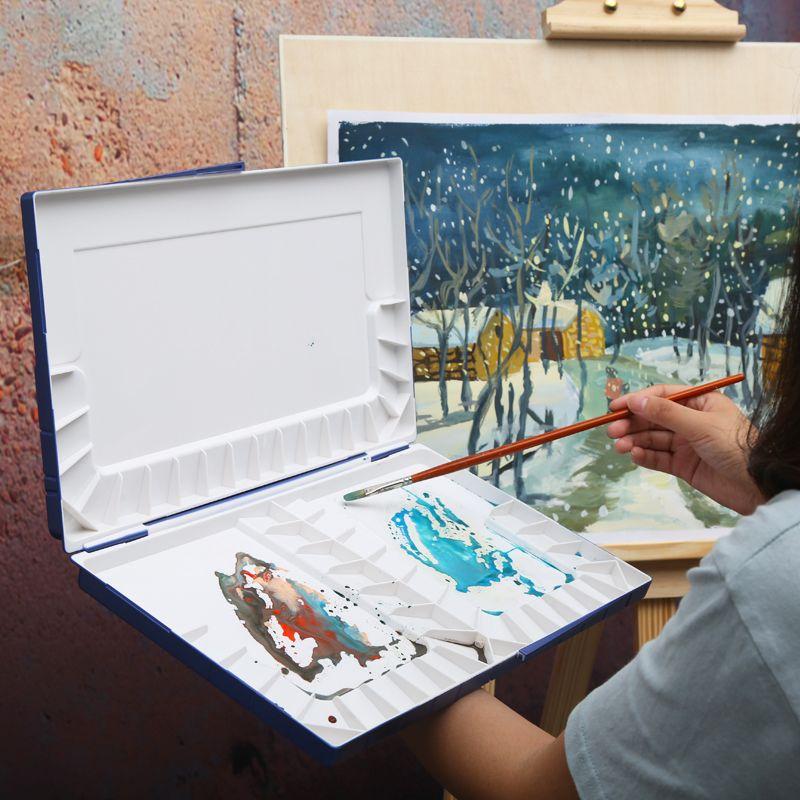Palette de peinture à l'eau hydratante supérieure Palette d'art aquarelle en plastique professionnelle fournitures paleta acuarela