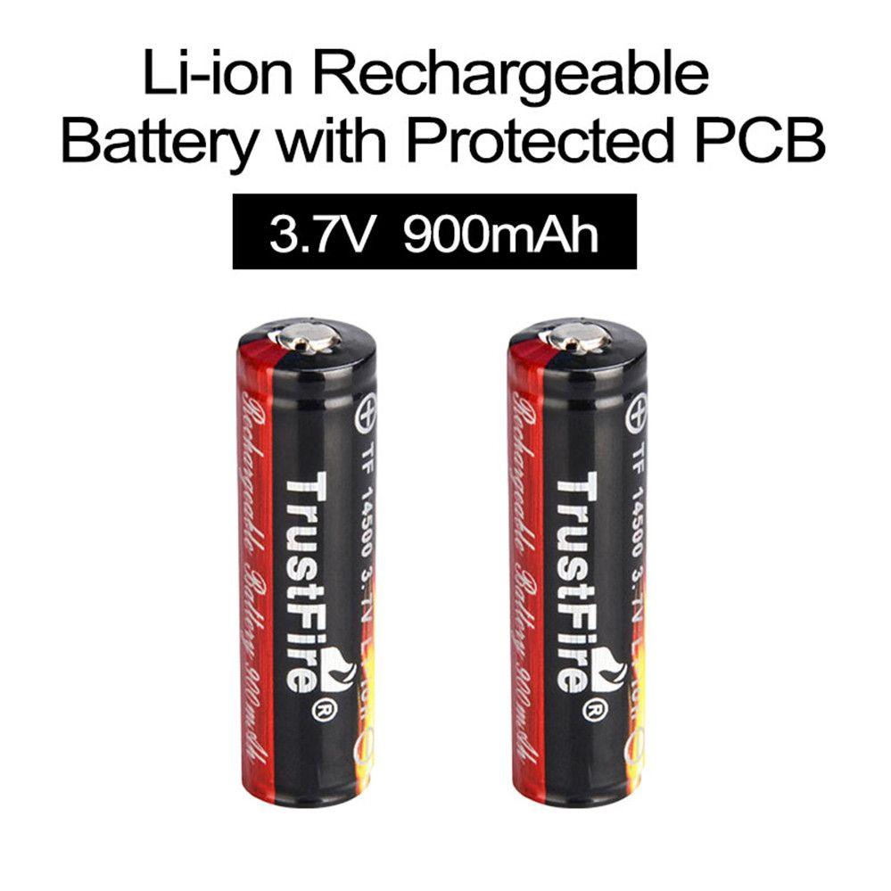 2 pièces TrustFire 3.7V 900mAh 14500 Batterie Rechargeable Li-ion Batteries Lithium-Ion avec Protégés PCB pour lampes de poche LED