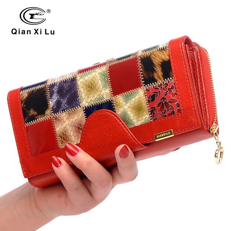 Qianxilu Brand 3 Fold Genuine Leather Women Wallets Coin Pocket Female Clutch Travel Wallet Portefeuille femme cuir