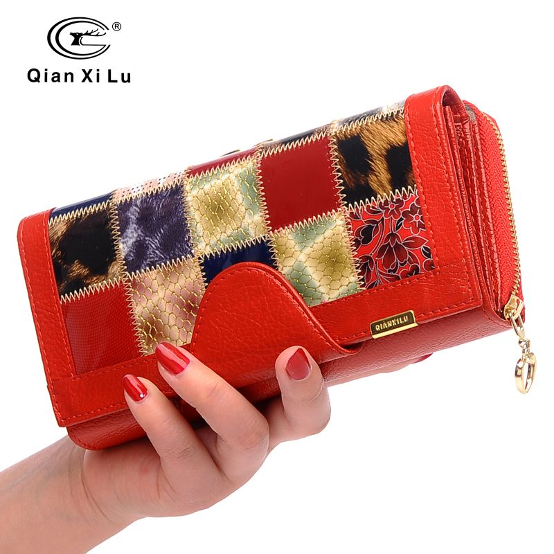 Qianxilu Brand 3 Fold Genuine Leather Women Wallets Coin Pocket Female <font><b>Clutch</b></font> Travel Wallet Portefeuille femme cuir