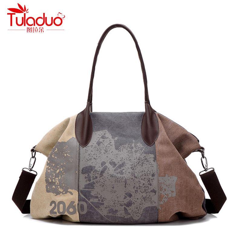 Canvas Women Bag Casual Women Messenger Bags Fashion Map Pattern Designer Women Crossbody Bags High Quality Women Shoulder Bags