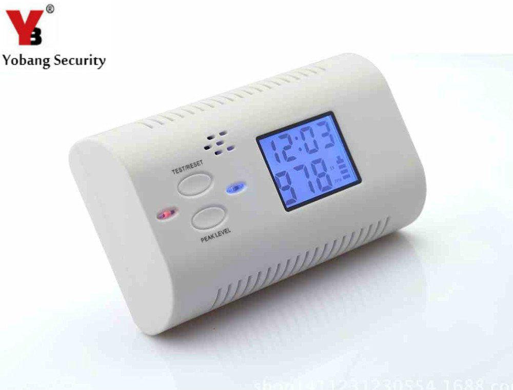 YobangSecurity Батарейках Детектор Угарного газа Отравление Газового Пожаротушения Предупреждение Сейф Сигнализация ЖК-Дисплей с Часами Голос