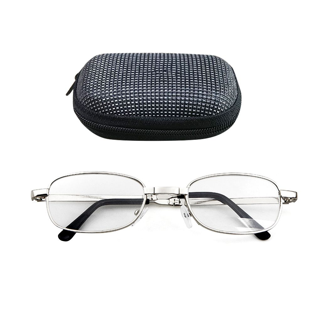 Portable Folding Reading Glasses Oval Metal Frame Presbyopic Magnifying Glasses Eyewear with Case