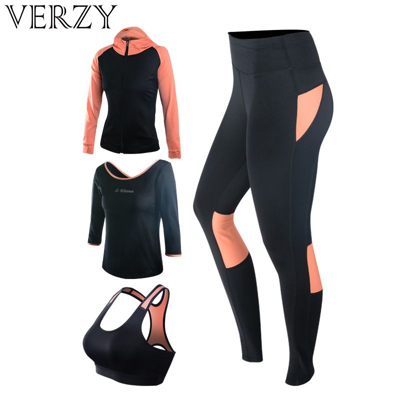 Neue Yoga-Set frauen Gym Kleidung Schwarz Sport Bh + Hosen + T-Shirt + Mantel 4 stücke fitness Laufsport Anzug Atmungsaktive Sport Leggings