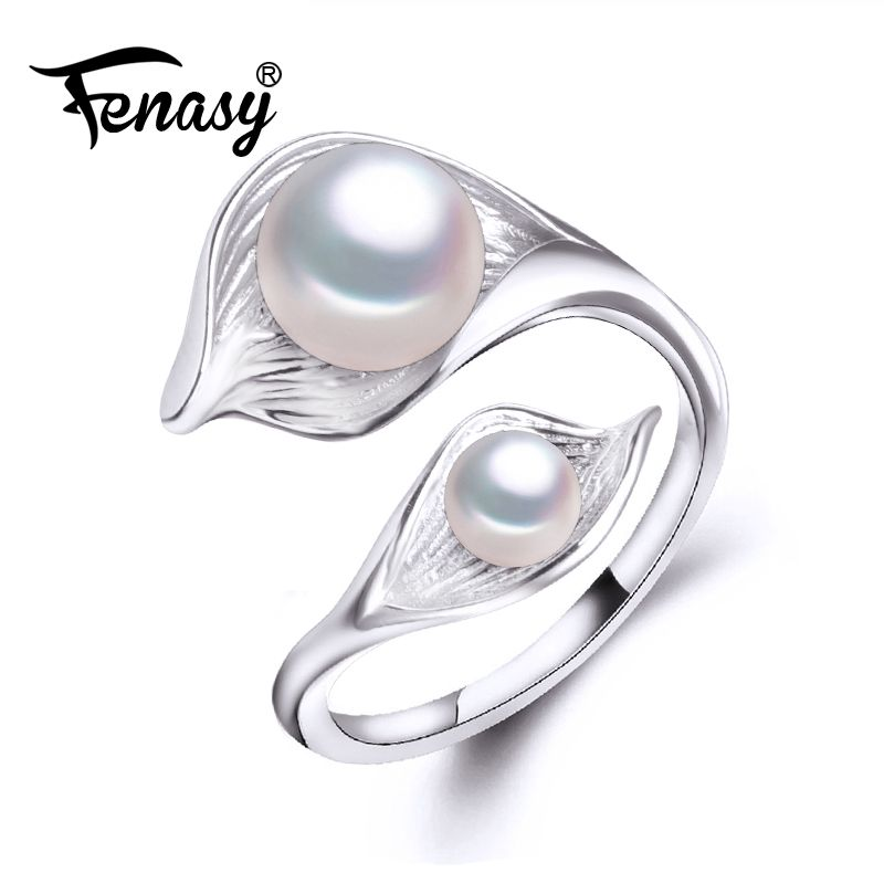 FENASY freshwater natural Double Pearl Ring for women,bohemia Fashion Statement Cocktail S925 Sterling silver leaf Ring 2018 New
