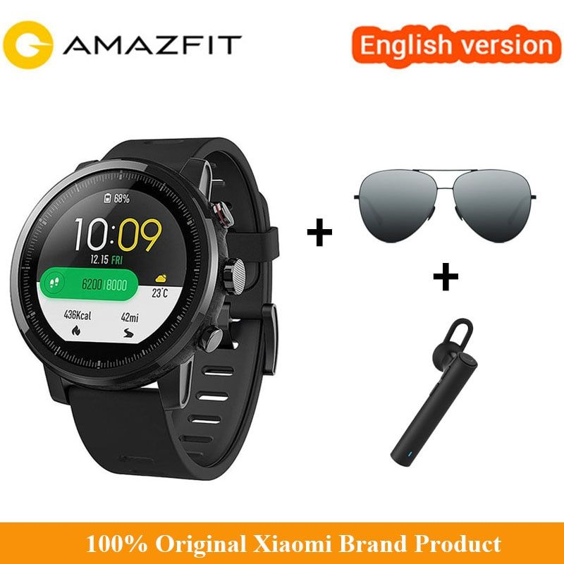 Original Xiaomi Smart Watch Xiaomi Huami Amazfit 2 Amazfit Stratos Pace 2 With GPS Xiaomi Watches PPG 5ATM Waterproof For Lover