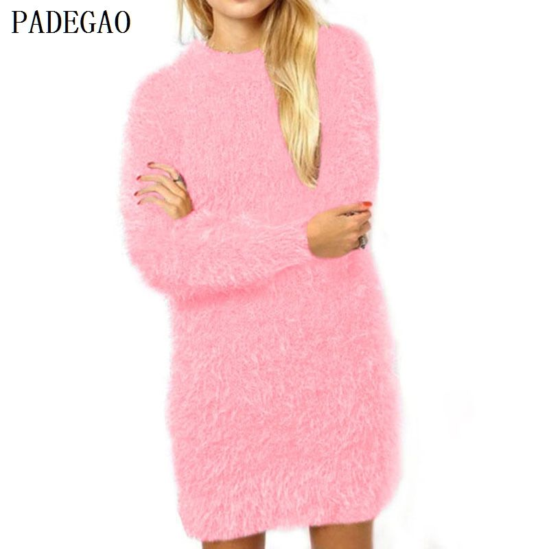 PADEGAO pullovers lake blue sweaters o neck long sleeve jumper women autumn winter loose casual tops pink woolen knitted sweater