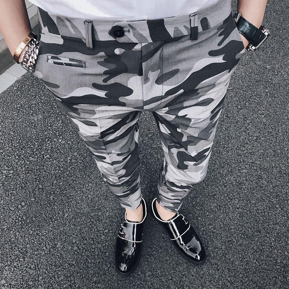 Camouflage Men Dress Pant Slim Fit Designer Men Casual Trousers Ankle Length Pants Men Social Pantalones Hombre 2018 Pantalon