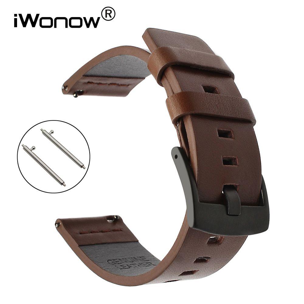 Bracelet de montre en cuir huileux italien 22mm libération rapide pour Samsung Gear S3 montre de galaxie frontière classique 46mm bracelet de sport