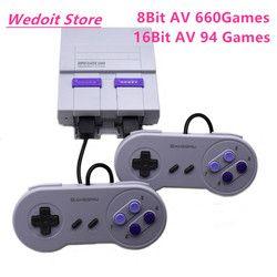Nuevo Retro Súper clásico juego TV mini 8 bit/16 familia bit consola de videojuegos TV incorporado 94/660 juegos reproductor de juegos portátil regalo