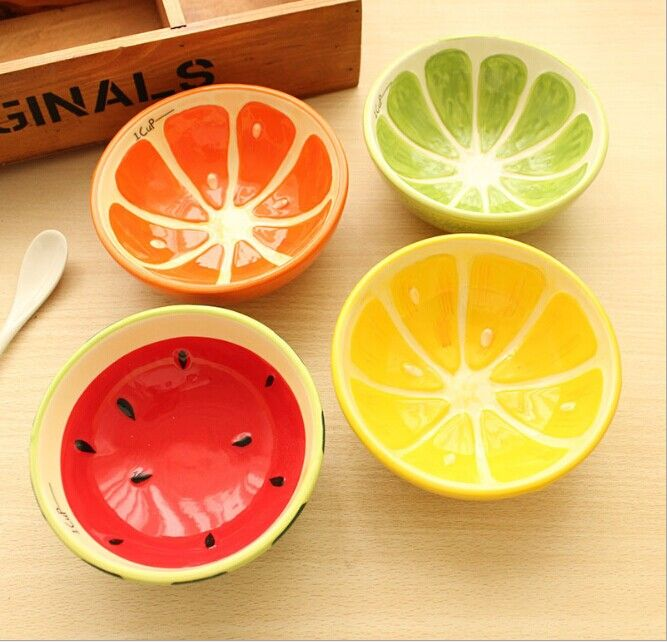 1PC Cute Bowl Lovely Hand Painted Fruit Bowl For Children Watermelon Ceramic Bowl Cartoon Tableware Flatware OK 0122