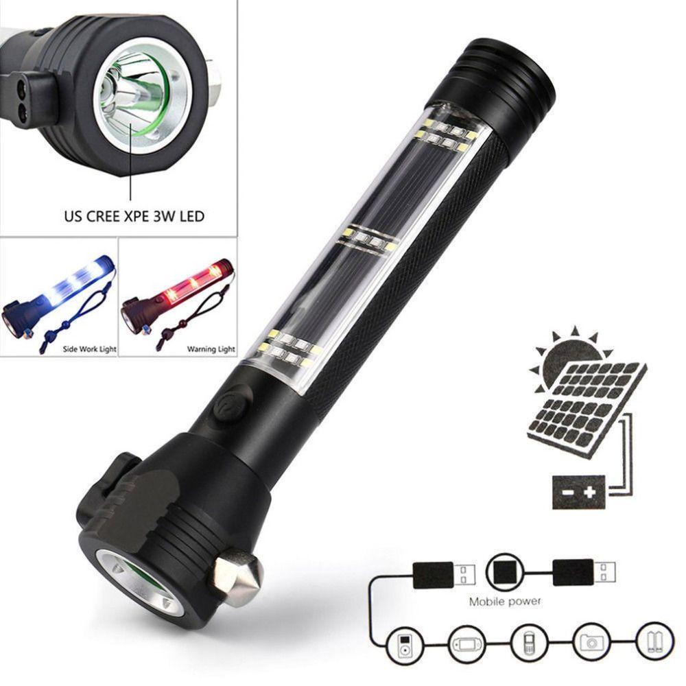 Personnalisé D'urgence Lumière led à alimentation solaire lampe de Poche Marteau de Sécurité lampe torche Avec batterie externe Aimant outil de survie
