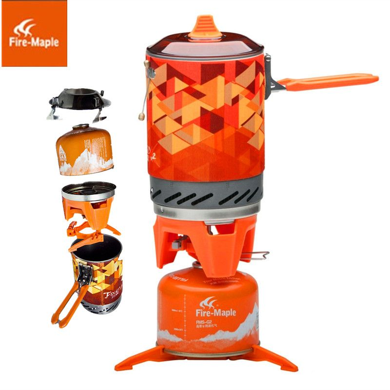 FMS-X2 New & Fire Maple compact One-Piece Camping Stove Heat Exchanger Pot camping equipment set Flash Personal Cooking System