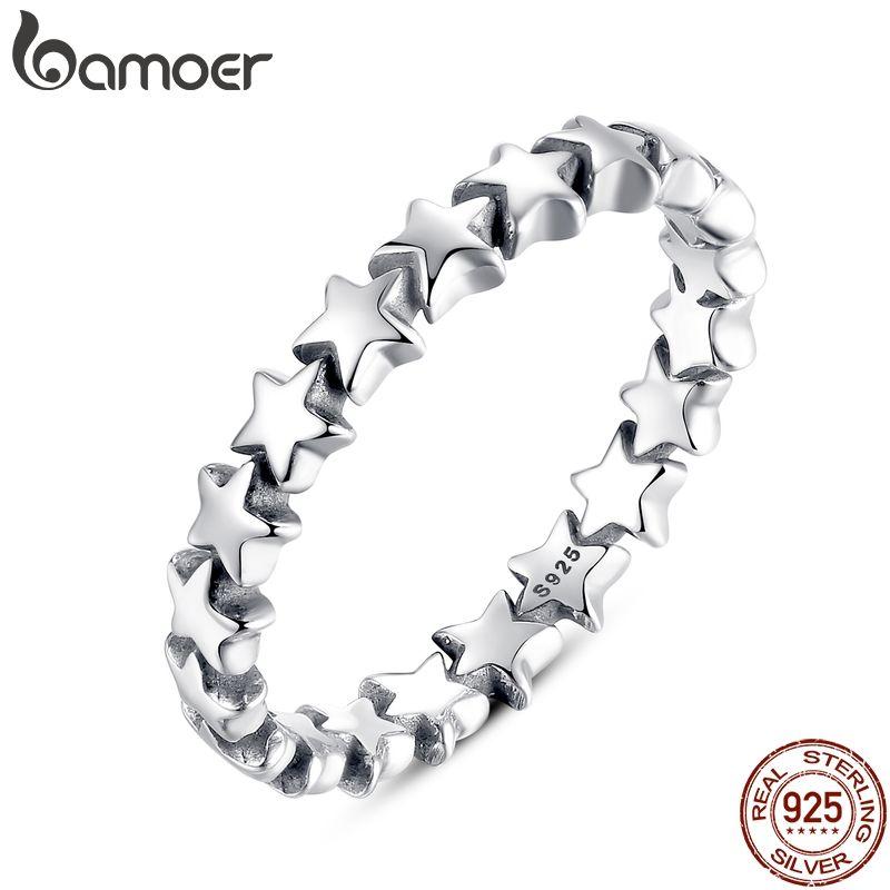 BAMOER Star Trail Stapelbar Finger Ring Für Frauen Hochzeit 100% 925 Sterling Silber Schmuck 2018 HEIßER VERKAUF PA7151