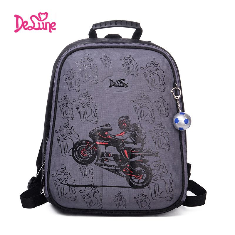 High <font><b>Quality</b></font> Delune 2017 cartoon children school backpack for boys Orthopedic backpack children's School bag motorcycle Safe