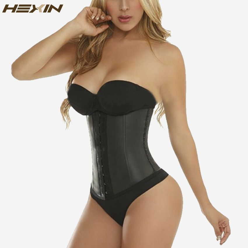 HEXIN 9 Steel Bones 100% Latex Waist Trainer Corset Sexy Women Body Shaper Waist Cincher Underbust Shapewear <font><b>Slimming</b></font> Belt 6XL