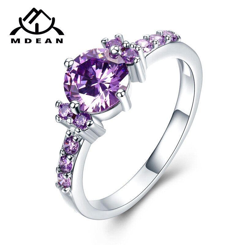 MDEAN White Gold Color Rings For Women Purple AAA Zircon Jewelry Engagement Wedding Rings Size 5 6 7 8 9 10 11 12 MSR199