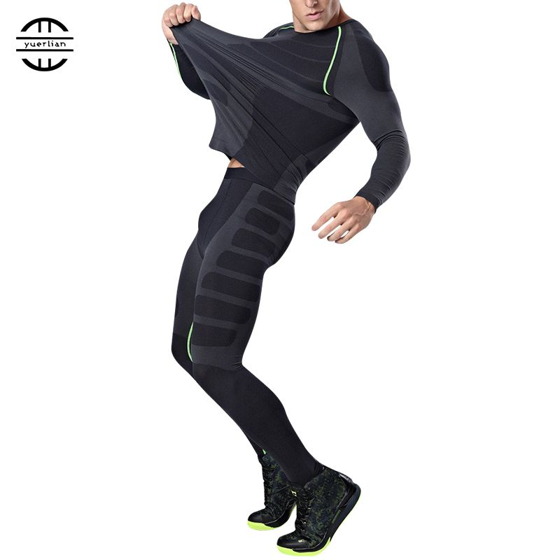 Yuerlian New Dry Fit Compression Tracksuit <font><b>Fitness</b></font> Tight Running Set T-shirt Legging Men's Sportswear Demix Black Gym Sport Suit