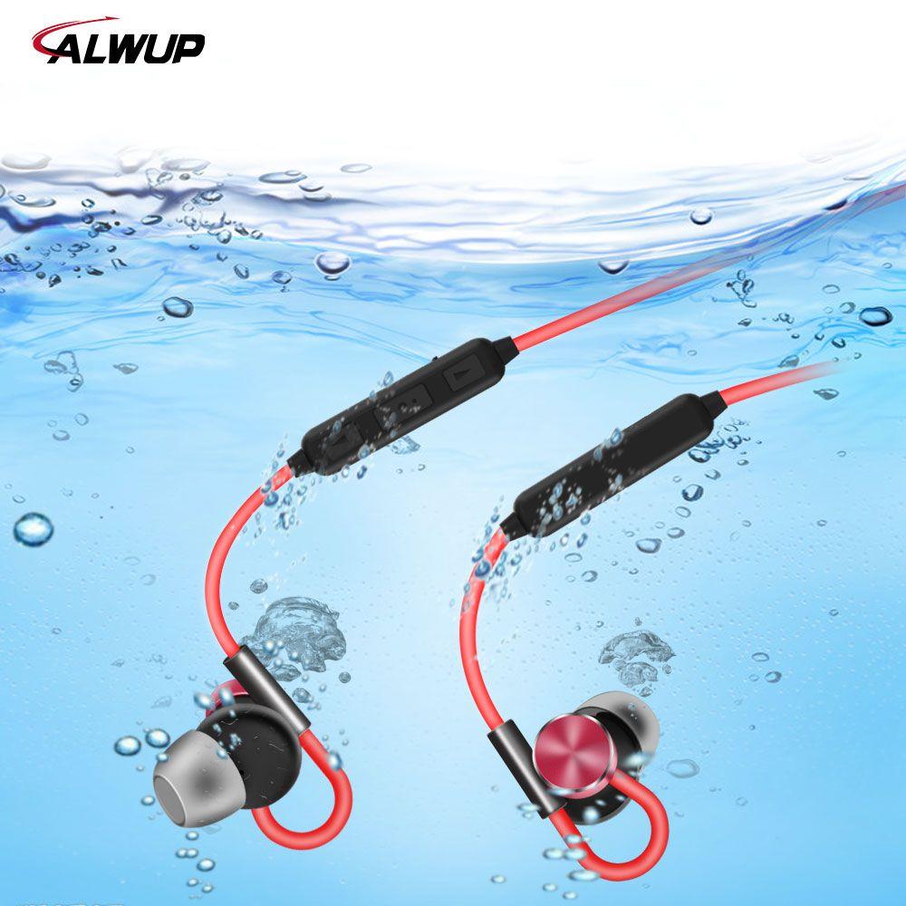 ALWUP Magnet Bluetooth Kopfhörer Wasserdicht IPX7 Stereo Sport Drahtlose Kopfhörer für iPhone 7 plus mit Mikrofon Bluetooth 4,1