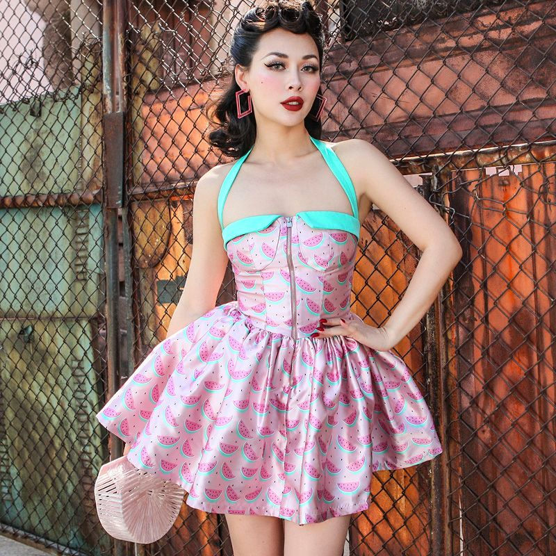 le palais vintage 2018 Summer Vintage Pin Up Corset Type Ball Gown Dress Slim High Rise Halter Type Contrast Color Printed Dress