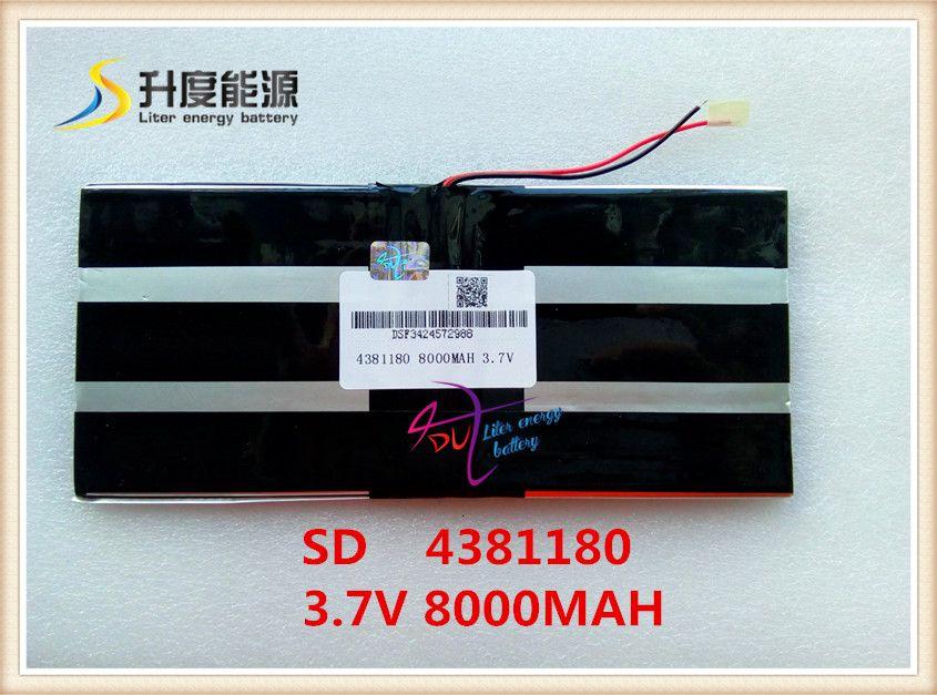 3.7 V, 8000 mAH, [4381180] PLIB (batterie au lithium-ion polymère) batterie Li-ion pour tablette pc, M9 pro 3g/max M9 quad core