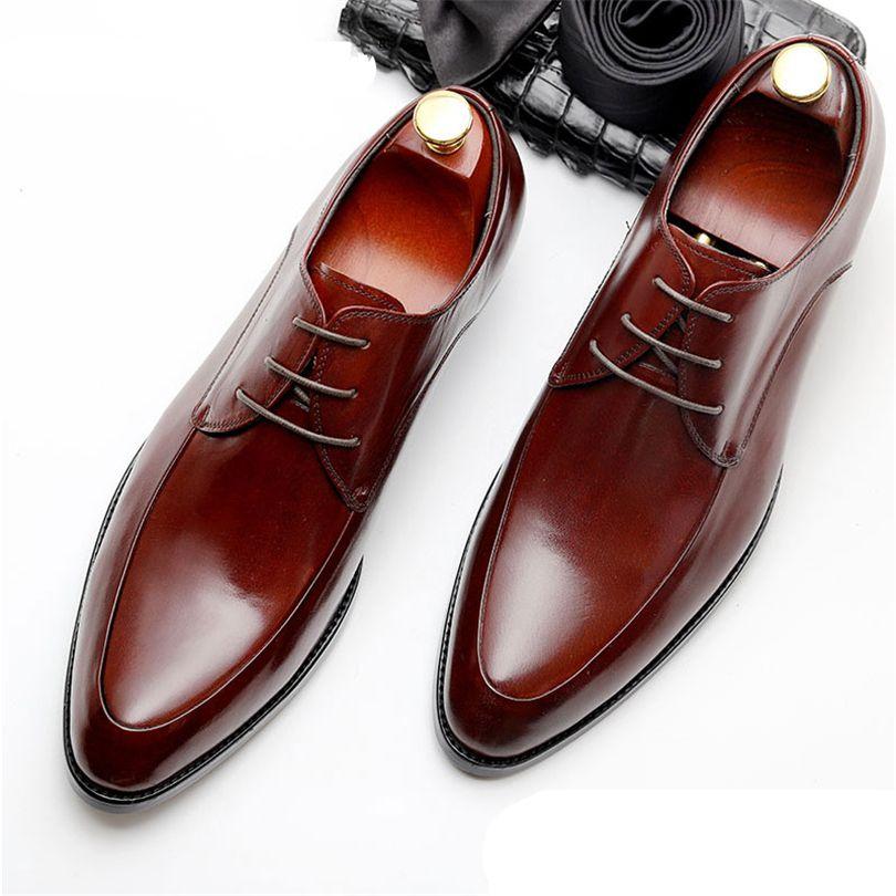Hommes Bullock véritable chaussures en cuir de luxe marque noir hommes partie robe de mariage chaussures chaussures en cuir Phenkang