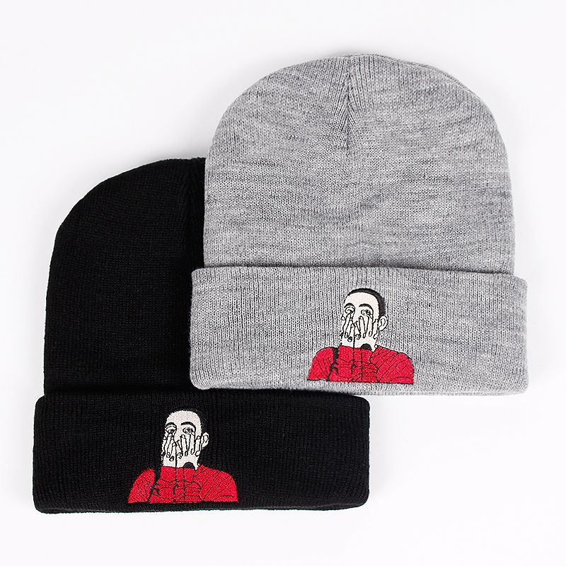 New US Rapper Malcolm Beanie Mac Miller Embroidery Knit Cap McCormick Knitted Hat Skullies Winter Warm Unisex Ski Gorros Cap