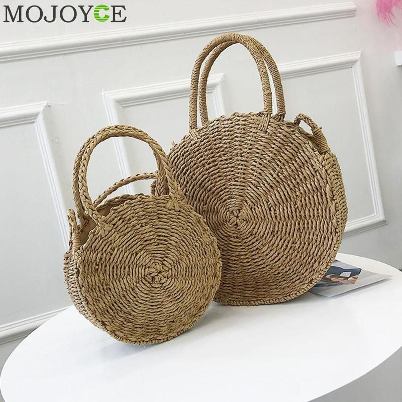 Woven Straw Round Handbag Retro Rattan Women Shoulder Bag Boho Summer Beach <font><b>Messenger</b></font> Bags Fashion Designer Female Handbag Totes