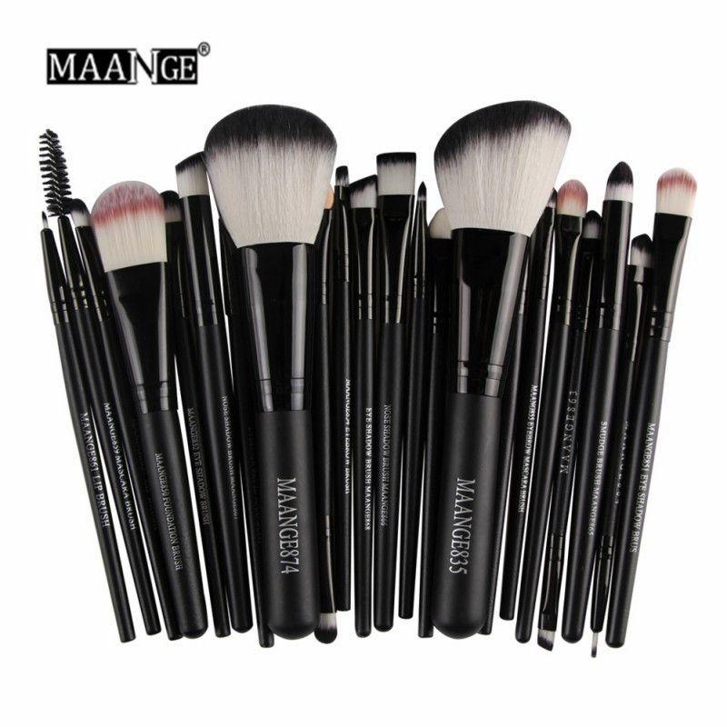 MAANGE 22 pièces Pro pinceau à maquillage Kit Poudre Fondation baume à paupières Lèvres Pinceaux de Maquillage Mis Outils De Beauté Maquiagem