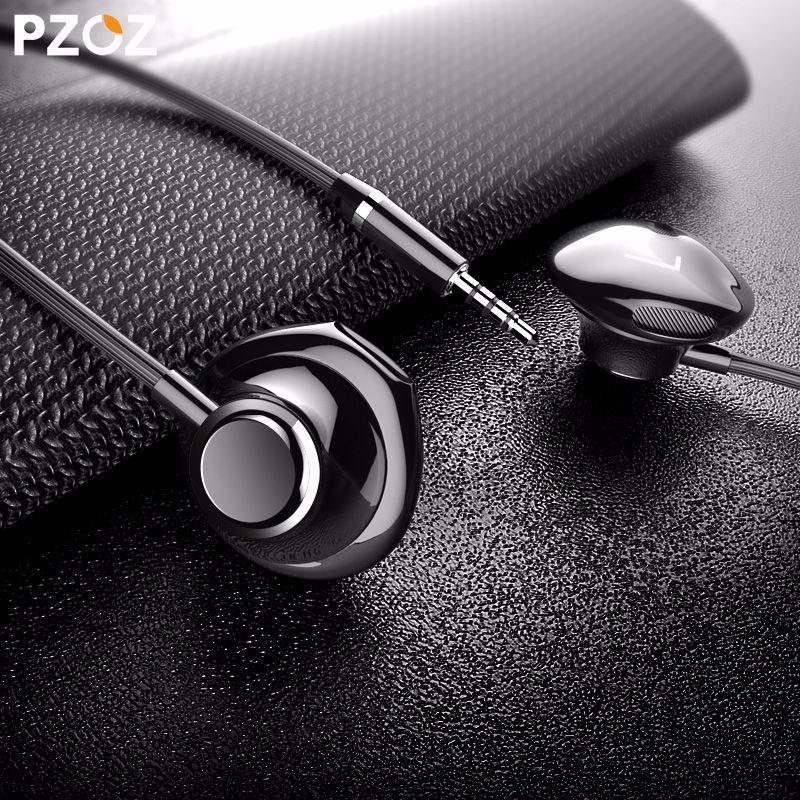 PZOZ Bass Kopfhörer 3,5mm Wired steuerung Headset Mit Mic In-ohr sport ohrhörer kopfhörer mini Für iphone xiaomi Samsung Huawei MP3