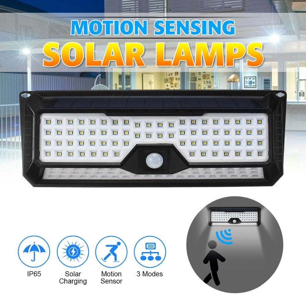 Mising IP65 Waterproof 136 LED Solar Light 2835SMD White Solar Power Outdoor Garden Lighting PIR Motion Sensor Pathway Wall Lamp
