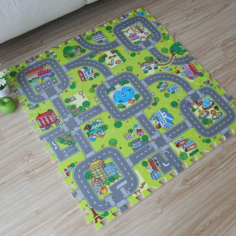 9 pièces bébé EVA mousse puzzle jouer tapis de sol, l'éducation et les carreaux de verrouillage et la route de la circulation tapis de sol (pas de bord)