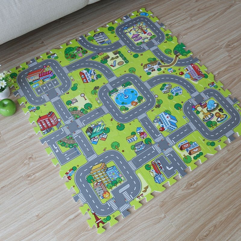 9pcs Baby EVA foam puzzle play floor mat,Education and interlocking tiles and traffic route ground <font><b>pad</b></font> (no edge)