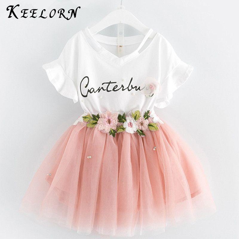 Keelorn Kids Girls Clothing Sets 2019 Summer Brand Girls Clothes White Cartoon Short Sleeve T-Shirt+Dress 2Pcs Children Clothes