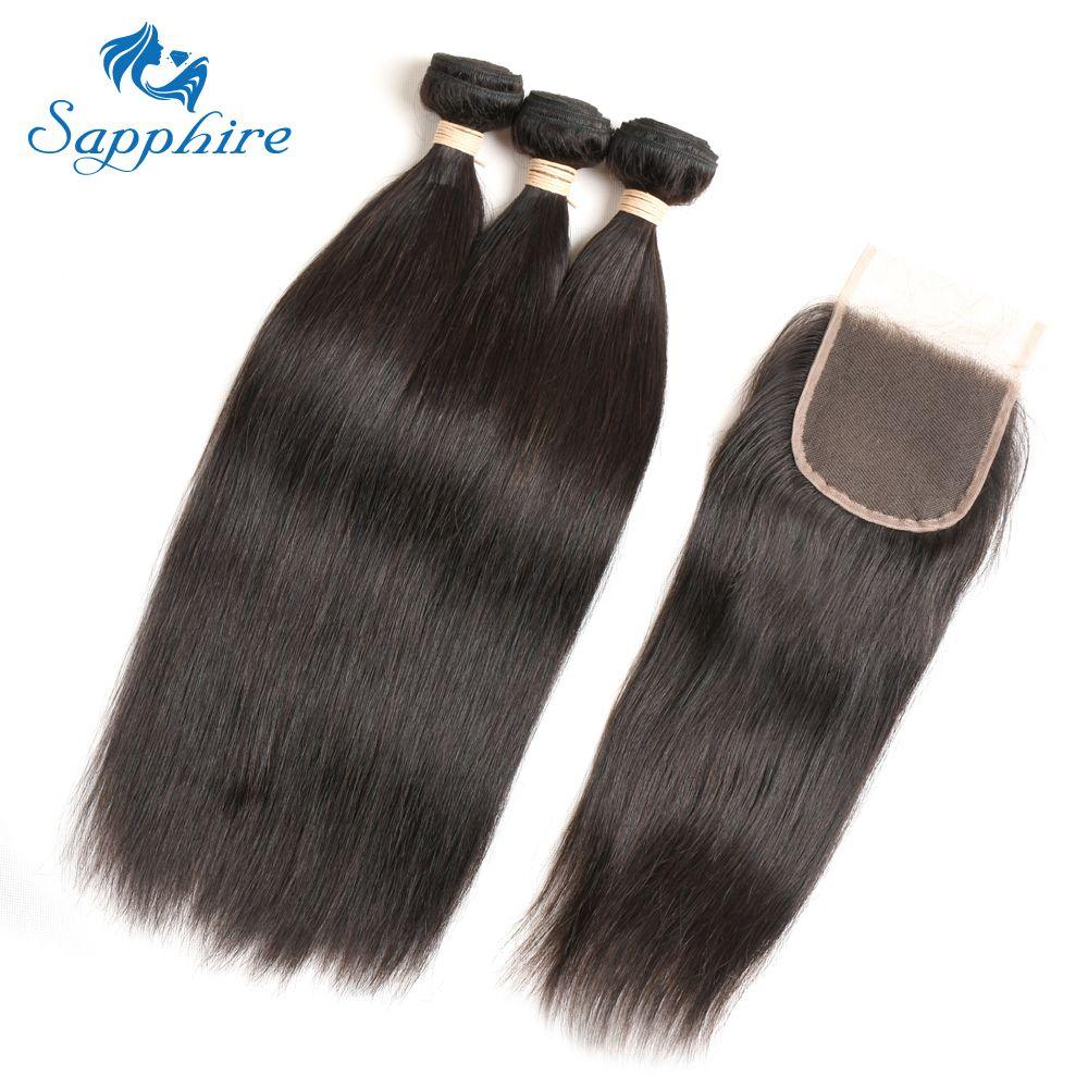 Sapphire 3 Bundle Deals Brazilian Straight Hair With Closure Brazilian Human Hair With Closure Straight Human Hair For Salon