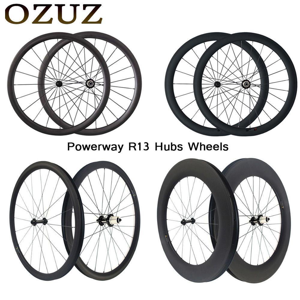 Free custom fee 700C Carbon wheel Powerway R13 road bicycle carbon wheels 24/38/50/60/88mm depth clincher tubular carbon wheels