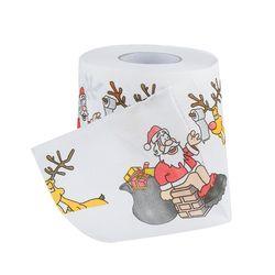 30 m Feliz Navidad de Santa Claus Impreso Papel Higiénico Tejido Cuadro Room Decor Xmas Party Eventos Ornamento Artesanía Accesorios