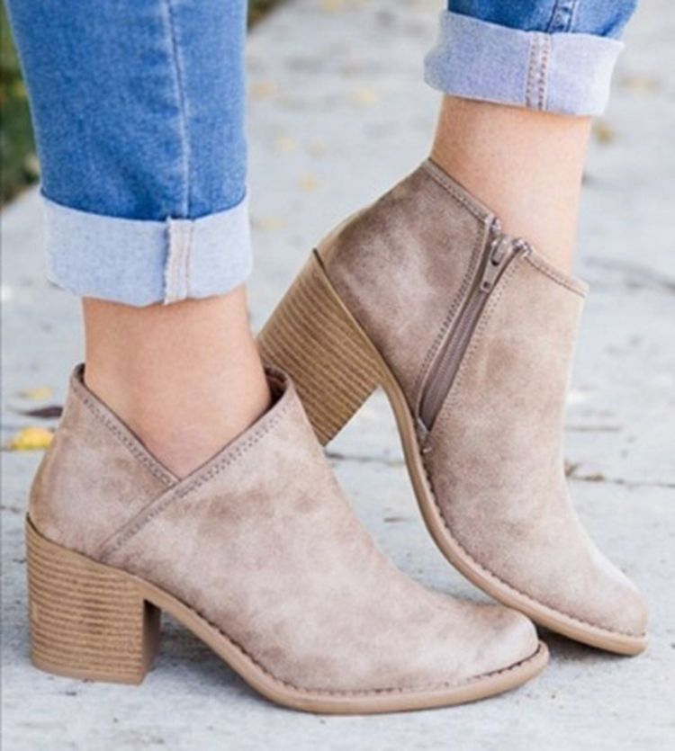 2018 Chic Autumn Women Shoes Retro High Heel Ankle Boots Female Block Mid Heels Casual Botas Mujer Booties Feminina Plus Size 43
