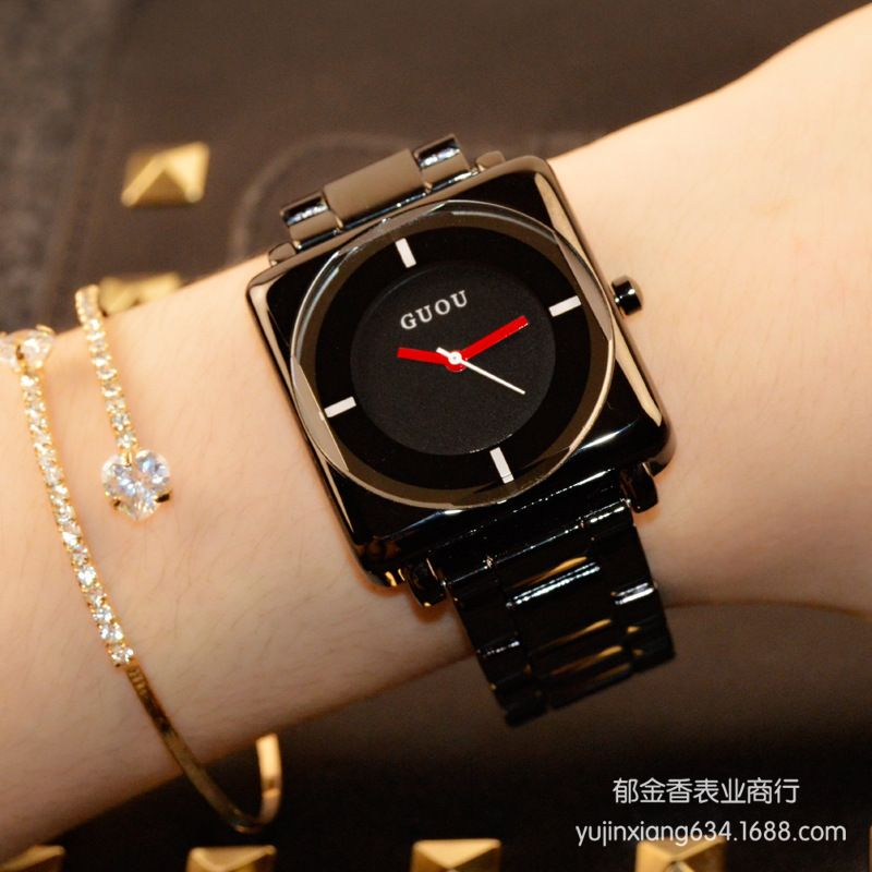 HK Brand Wristwatches Quartz-Watches High-Grade Women's Watches <font><b>Rose</b></font> Gold Black Stainless Steel Strap Joker Square Simple Luxury