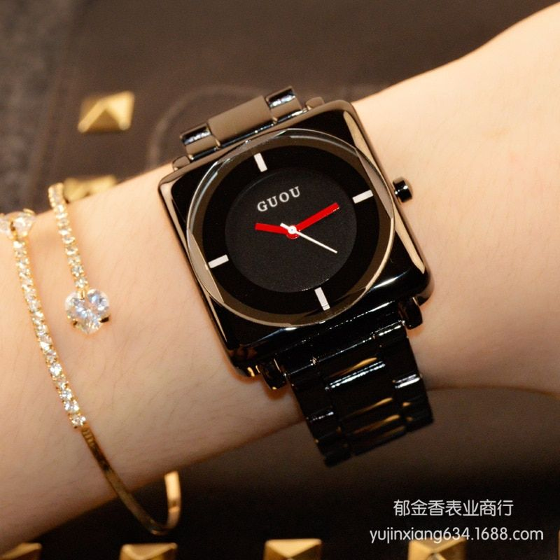 HK Brand Wristwatches Quartz-Watches High-Grade Women's Watches Rose Gold Black Stainless Steel Strap Joker Square Simple Luxury
