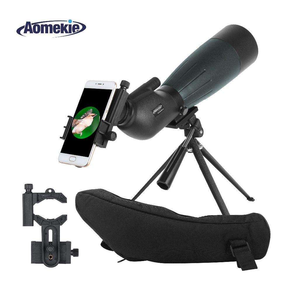 AOMEKIE 20-60X80 Spotting Scope Zoom Hunting Optics HD Camping Bird Watching Monocular Telescope FMC Lens with Phone Adapter