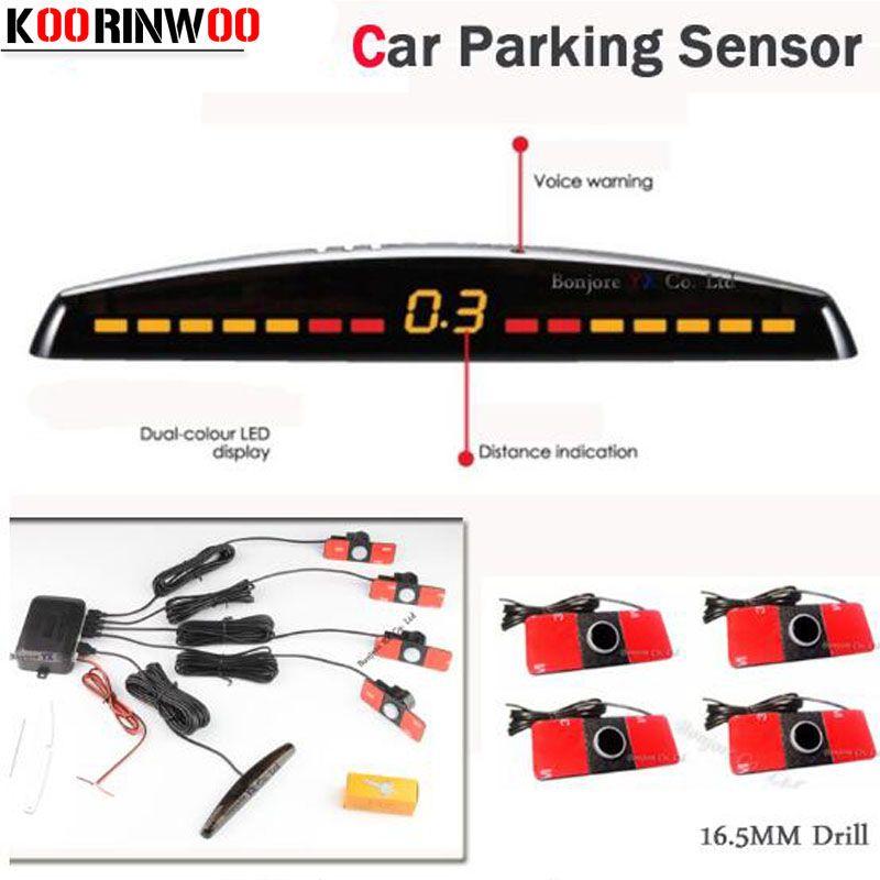 Koorinwoo détecteur de voiture affichage de LED capteur de stationnement de voiture multicolore Set 4 système capteur de voiture Radar de recul Parktronic rouge noir gris