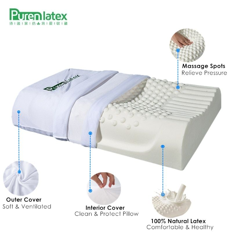 PurenLatex 60x40 Thailand Pure Natural Latex Pillow Remedial Neck Protect Vertebrae Health Care Orthopedic Pillow Slow Rebound