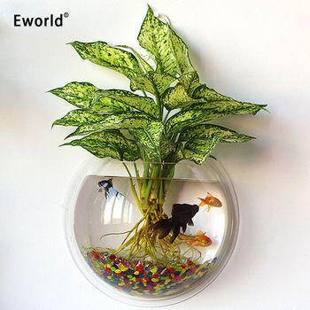 Eworld Acrylic Fish Bowl Wall Hanging Aquarium Fish Tank Aquatic Pet Supplies Pet Products Wall Mount Plant Pot For Home Decor